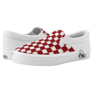 Rote Schachbrett-Turnschuhe Slip-On Sneaker
