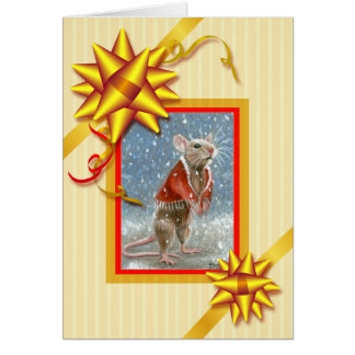Rote Schal-Ratten-Weihnachtskarte Karte