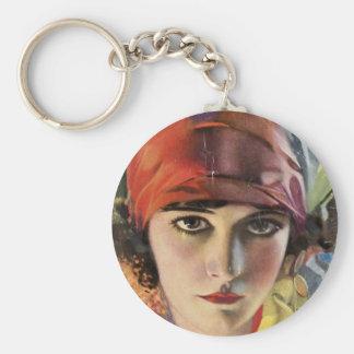 Rote Schal-Sinti und Roma-Dame Schlüsselanhänger