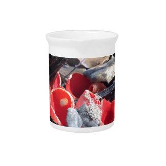 Rote Schalen und Blätter Getränke Pitcher