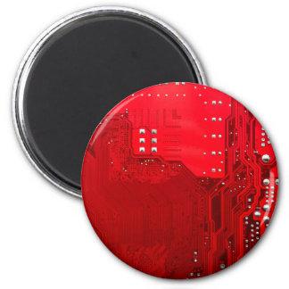 rote Schaltungsmotherboard-Musterbeschaffenheit Runder Magnet 5,7 Cm