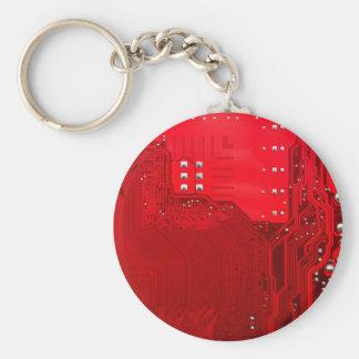 rote Schaltungsmotherboard-Musterbeschaffenheit Schlüsselanhänger