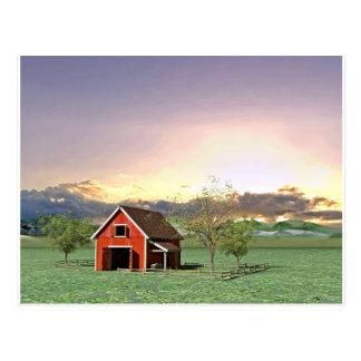 Rote Scheune am Sonnenuntergang Postkarte