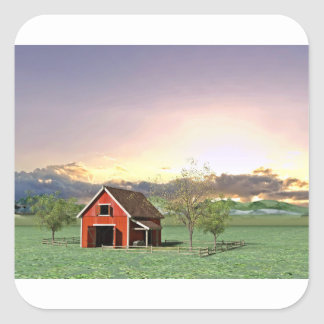 Rote Scheune am Sonnenuntergang Quadratischer Aufkleber