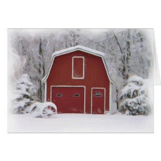 rote Scheune im Winter Karte