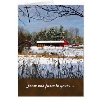 Rote Scheunen-Bauernhof-Weihnachtsgruß-Karten Karte