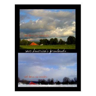 Rote Scheunen-Jahreszeiten Postkarte