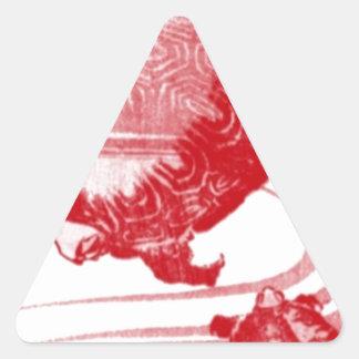 Rote Schildkröten in wirbelndem Wasser Dreieckiger Aufkleber