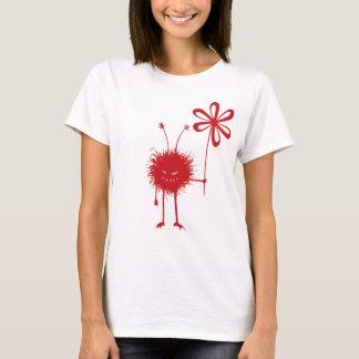 Rote schlechte Blumen-Wanzen-Frau T-Shirt