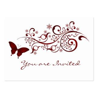 Rote Schmetterlings-Hochzeits-Einladung Mini-Visitenkarten