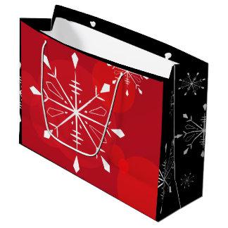 Rote Schneeflocke-Geschenk-Tasche Große Geschenktüte