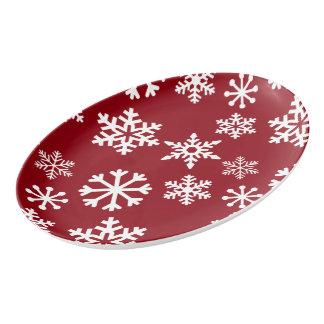 Rote Schneeflocke-Umhüllungs-Servierplatte - Porzellan Servierplatte