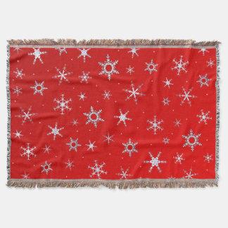 Rote Schneeflocken Decke