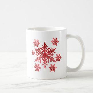 Rote Schneeflocken Kaffeetasse