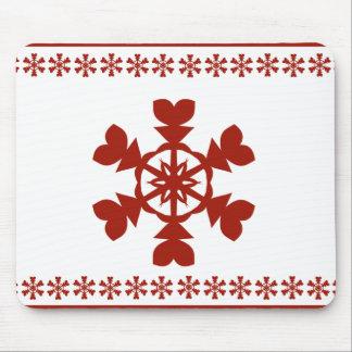 Rote Schneeflocken Mousepads