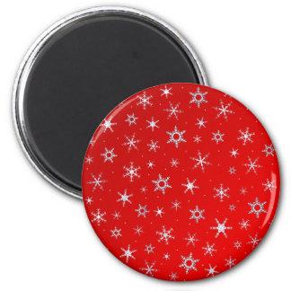 Rote Schneeflocken Runder Magnet 5,7 Cm