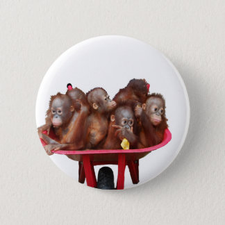 rote Schubkarrebabyorang-utans Runder Button 5,7 Cm