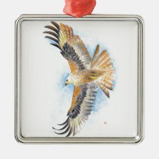 Rote Schwanz-Falke-Kunst Silbernes Ornament