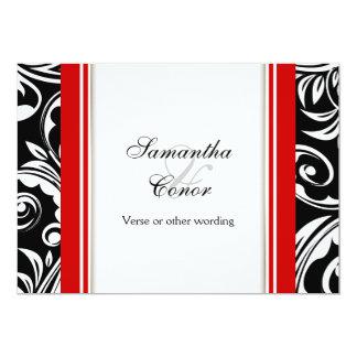 Rote Schwarz-weiße Hochzeits-Verlobung 12,7 X 17,8 Cm Einladungskarte