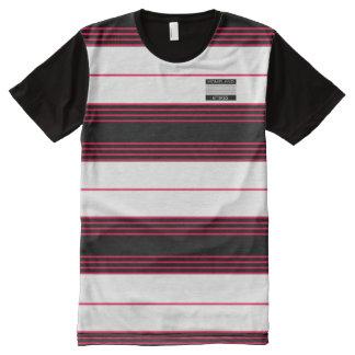 Rote Schwarz-weiße Streifen-moderner Designer-T - T-Shirt Mit Komplett Bedruckbarer Vorderseite
