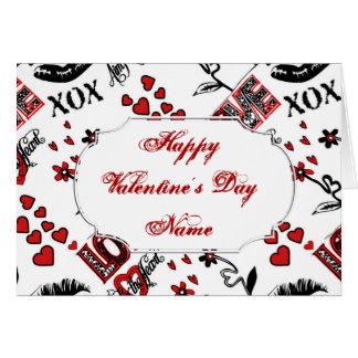Rote Schwarz-weiße Valentine-Motiv-Gruß-Karte Karte
