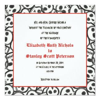 Rote schwarze Hochzeitseinladung Karte