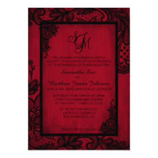 Rote schwarze Spitze-gotische 12,7 X 17,8 Cm Einladungskarte