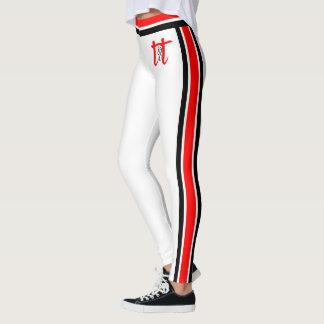 Rote/schwarze Streifen auf Weiß Leggings