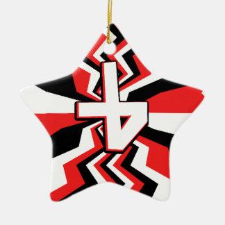 Rote, schwarze u. weiße Zickzack-Explosion Keramik Ornament
