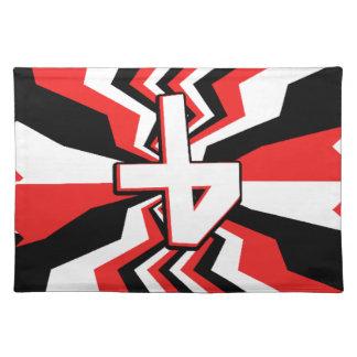 Rote, schwarze u. weiße Zickzack-Explosion Stofftischset