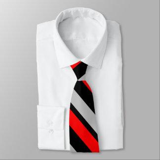Rote schwarze und silberne Diagonal-Gestreifte Krawatte