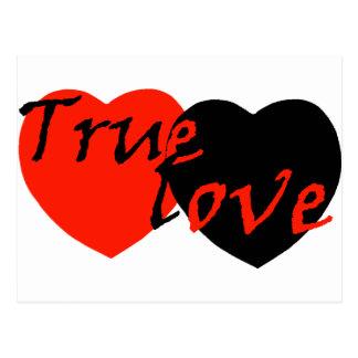 Rote schwarze wahre Liebe-Herzen n Postkarte
