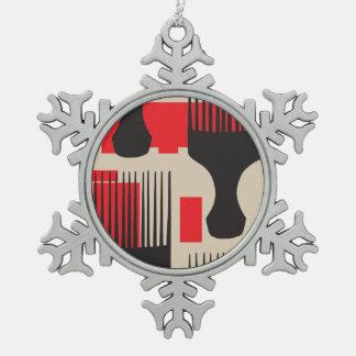 Rote schwarzes Haar-Kammafro-Auswahl Schneeflocken Zinn-Ornament