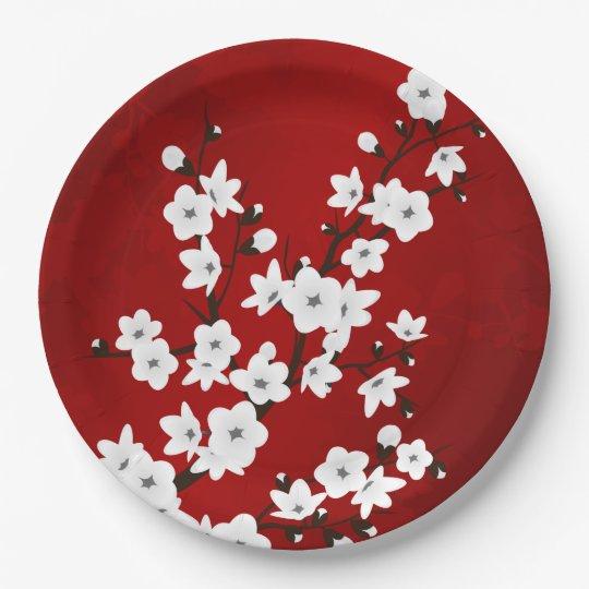 Rote Schwarzweiss-Kirschblüten Pappteller