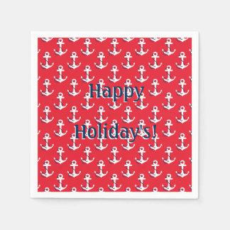 Rote Seeanker-kundengerechte Feiertags-Mitteilung Papierserviette