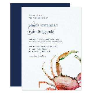 Rote Seehochzeits-Einladung der Krabben-| Karte