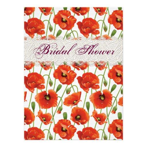 Rote Sommer-Mohnblumen-Brautparty-Einladung
