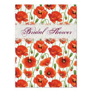 Rote Sommer-Mohnblumen-Brautparty-Einladung 16,5 X 22,2 Cm Einladungskarte