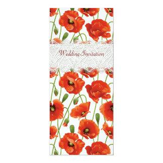 Rote Sommer-Mohnblumen, die Einladung Wedding sind 10,2 X 23,5 Cm Einladungskarte