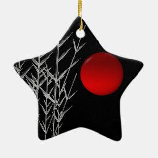 Rote Sonne Schwarz-weißer Zen Keramik Ornament