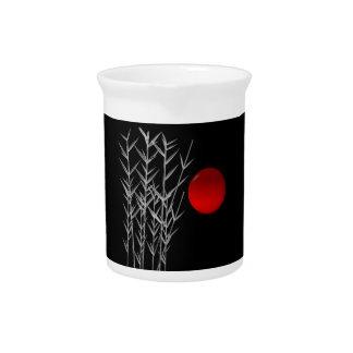 Rote Sonne Schwarz-weißer Zen Krug