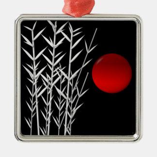Rote Sonne Schwarz-weißer Zen Quadratisches Silberfarbenes Ornament