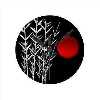Rote Sonne Schwarz-weißer Zen Runde Wanduhr