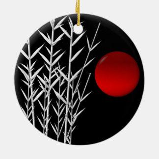 Rote Sonne Schwarz-weißer Zen Rundes Keramik Ornament