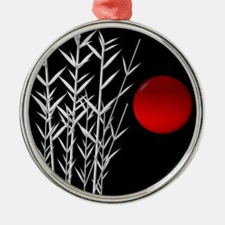 Rote Sonne Schwarz-weißer Zen Silbernes Ornament