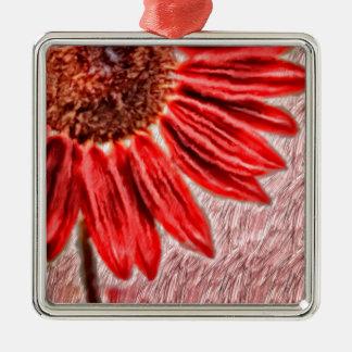 Rote Sonnenblume-Skizze Silbernes Ornament