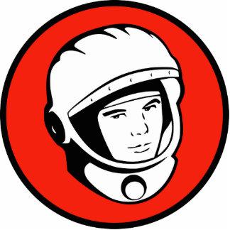 Rote sowjetische Kosmonaut-Skulptur Freistehende Fotoskulptur