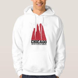 Rote Stadt-Skyline Chicagos, Illinois | Hoodie