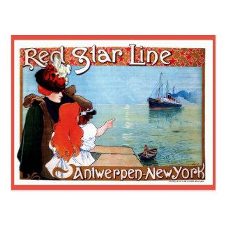 Rote Stern-Linie Antwerpen-Neue Vintage Anzeige Postkarte