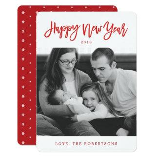 Rote stilvolle Skript-glückliches neues 12,7 X 17,8 Cm Einladungskarte